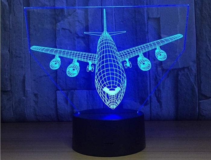 YKLWORLD Airplane Night Light 3D Illusion Lamp
