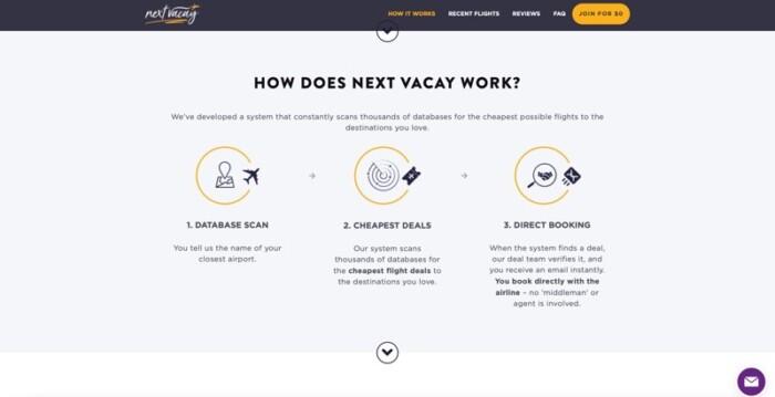 Screenshot of Next Vacay home screen.