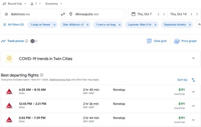 Google Flight page for Baltimore to Minneapolis