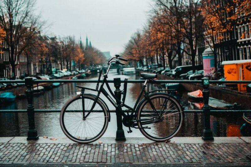 Locked Bike in Amsterdam, Netherlands
