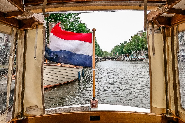 Netherlands Flag on a Boat in Amsterdam