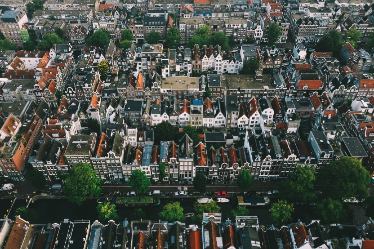 Aerial View of Amsterdam Canal Houses