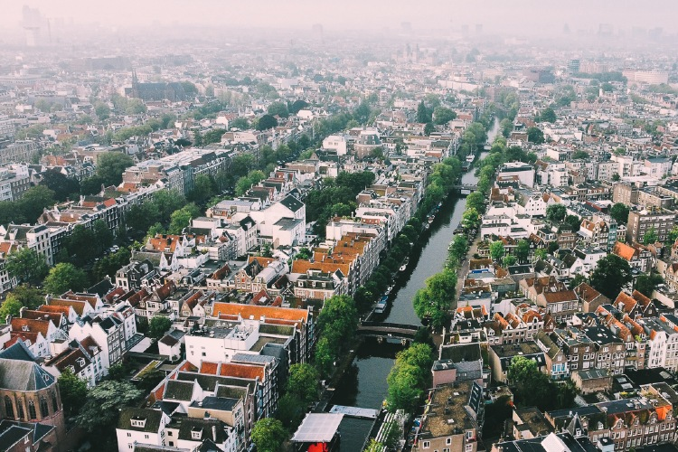 Aerial View of the Prinsengracht Canal