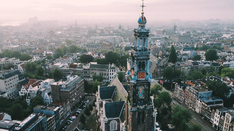 Aerial View of Westerkerk Amsterdam